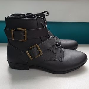 2 Buckle and Lace up Black Ankle Boots